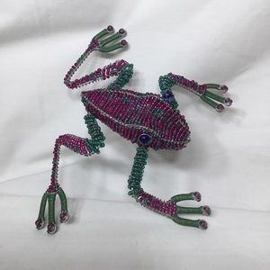 SOUTH AFRICA BEADED WIRE ART WORK COLORFUL FROG